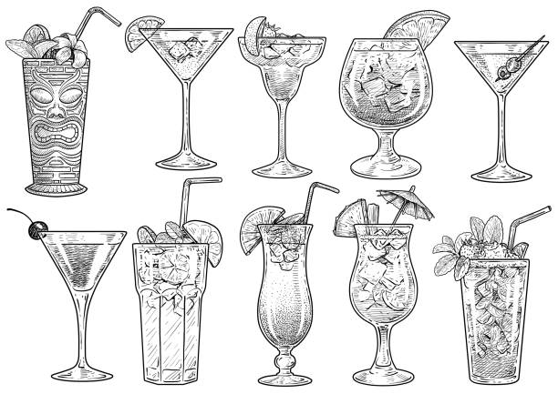 illustrazioni stock, clip art, cartoni animati e icone di tendenza di cocktail illustration, drawing, engraving, ink, line art, vector - aperitivo