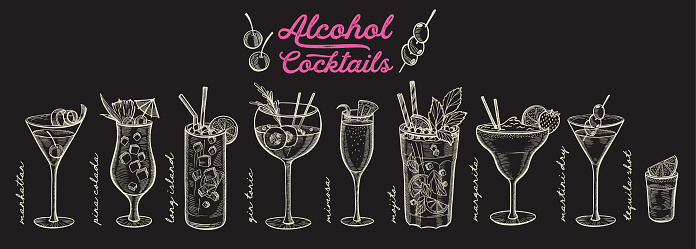 Cocktail illustration, vector hand drawn alcohol drinks