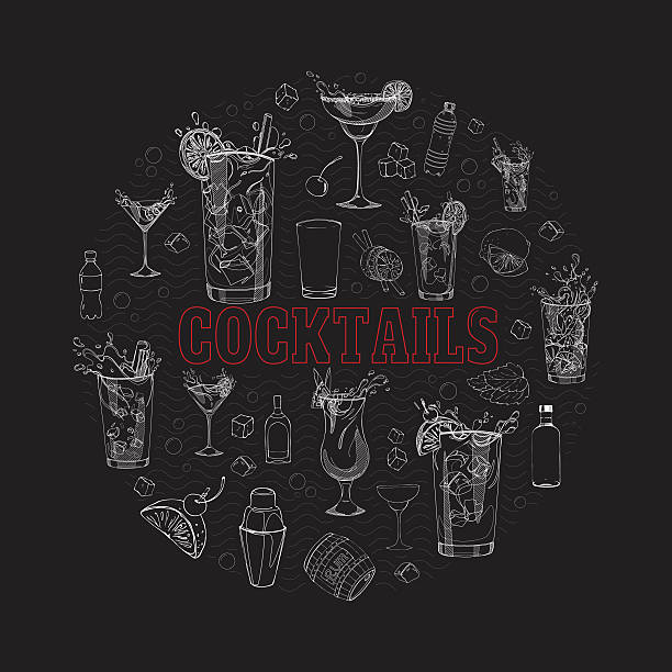 cocktail in a circle1 vector art illustration