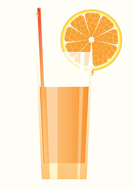 Cocktail in high glass with orange. vector art illustration