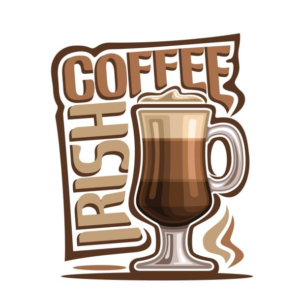 Cocktail Irish Coffee Vector illustration of Cocktail Irish Coffee: mug of hot latte drink with creamy foam, cocktail of layered cappuccino coffee with liquor, sign with brown title - irish coffee, glass cup of espresso. irish coffee stock illustrations