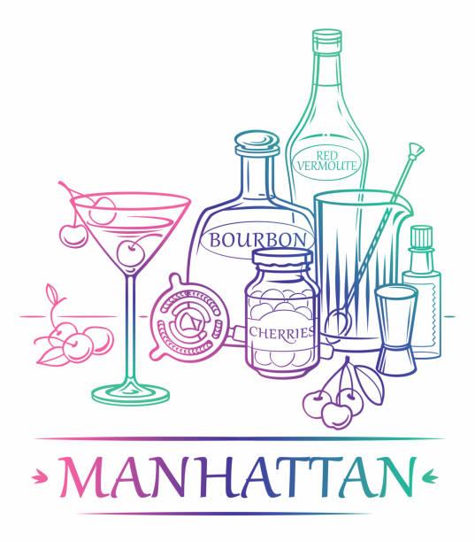 Cocktail Manhattan mit Zutaten (Bourbon, rote Vermoute, Kirschen, Angostura Bitter) und Barmann-Instrumenten – Vektorgrafik
