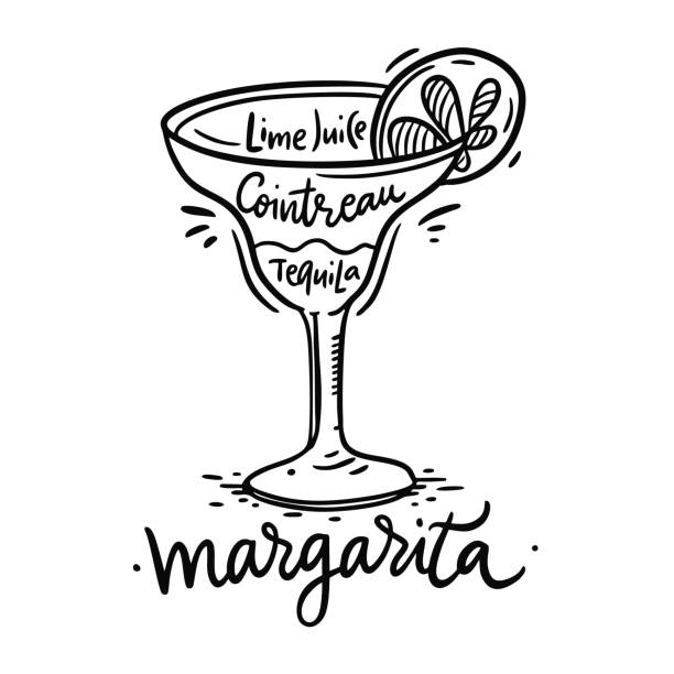 Cocktail Margarita and its ingredients in vintage style. Hand draw vector illustration Cocktail Margarita and its ingredients in vintage style. Hand draw vector illustration isolated on white background. margarita stock illustrations