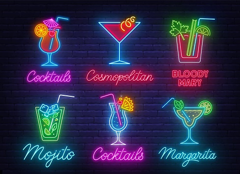 Cocktail Margarita, Blue Hawaiian,Mojito,Bloody Mary, Cosmopolitan and Tequila sunrise neon sign on brick wall background.