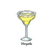 Cocktail margarita in sketch style for menu. Contemporary Classic cocktail. Tequila drink