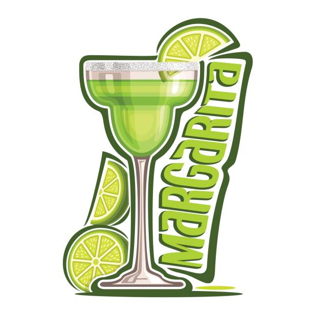 Cocktail Margarita Vector illustration of alcohol Cocktail Margarita: garnish of sliced lime and salt on glass of mexican tequila cocktail, icon with green title - margarita, classic mocktail drink on white background. margarita stock illustrations