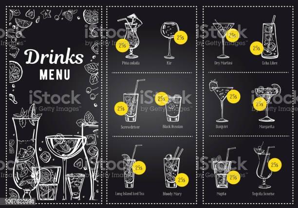 Cocktail menu design template and drink list vector outline hand vector id1067622598?b=1&k=6&m=1067622598&s=612x612&h=av2m5ga7ssvnvv3xvg2chwwtuhgepsbyotw17rphhxo=