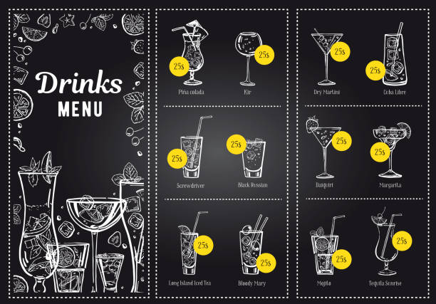 cocktail menu design template and drink list. vector outline hand drawn illustration with blackboard background - alcohol drink drawings stock illustrations
