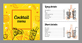 Cocktail menu design template with list of drinks. Vector outline colorful vintage hand drawn illustration with bottles and glasses