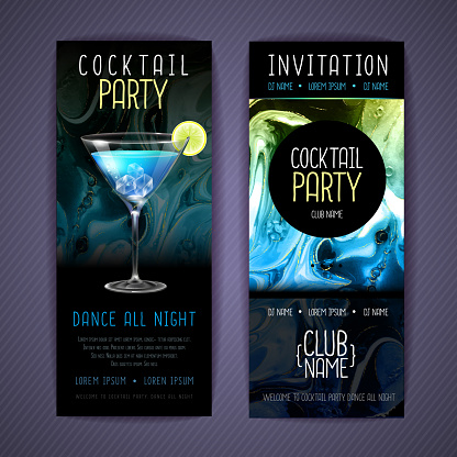 Cocktail menu design with alcohol ink texture. Marble texture background. Blue lagoon