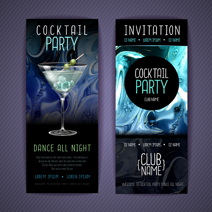 Cocktail menu design with alcohol ink texture. Marble texture background.