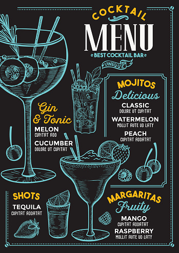 Cocktail menu for bar, drink template.