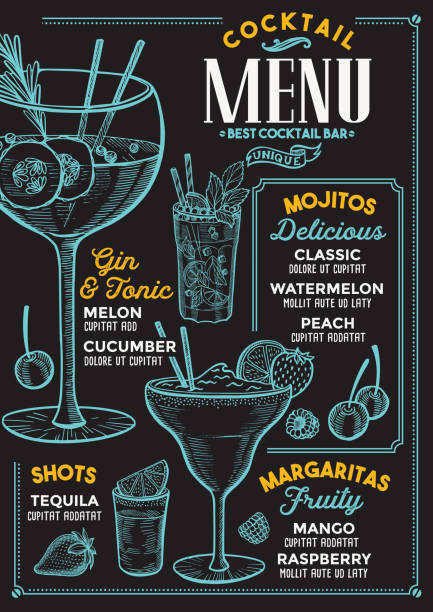 cocktail menu for bar, drink template. - alcohol stock illustrations, clip art, cartoons, & icons
