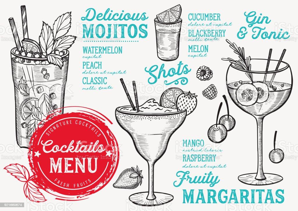 Cocktail menu for bar, drink template. vector art illustration