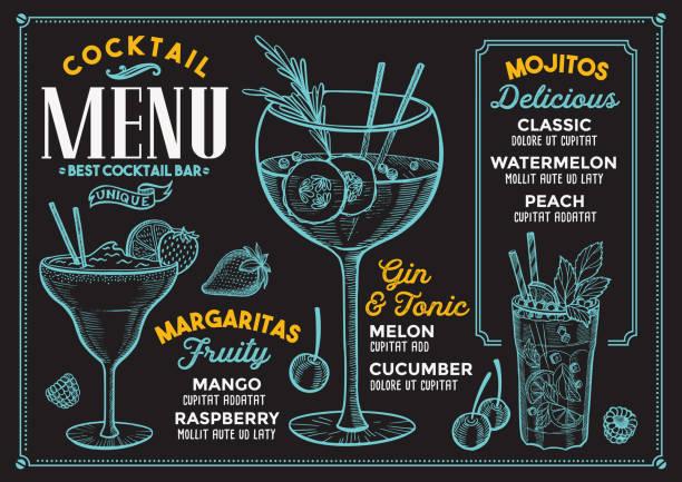 cocktail menu for bar, drink template. - alcohol drink backgrounds stock illustrations