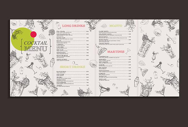 cocktail menu full - menu card stock-grafiken, -clipart, -cartoons und -symbole