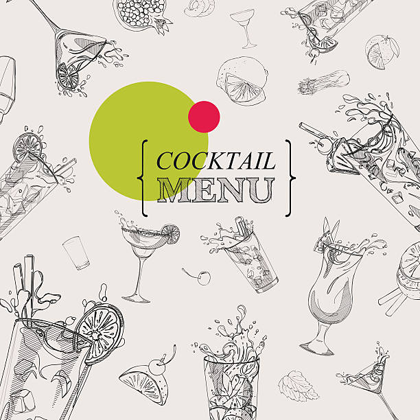 cocktail menu  white and black vector art illustration