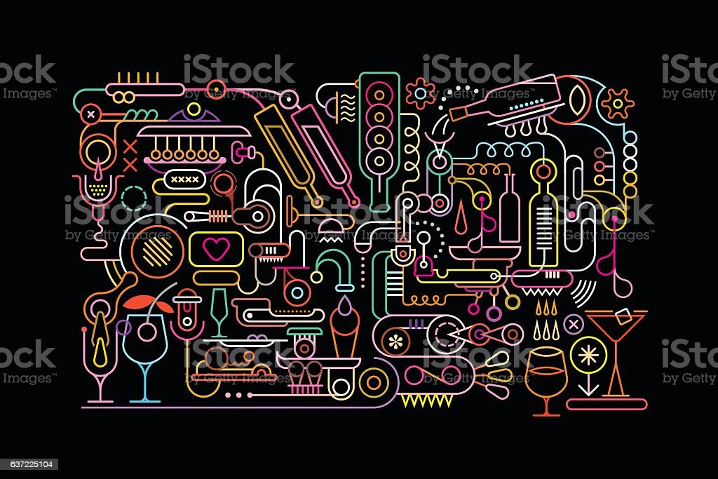 Cocktail Mixing Process vector art illustration