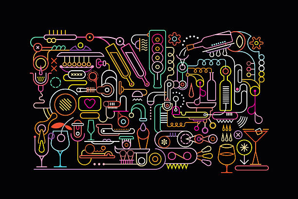 cocktail mixing process - 食品/飲料点のイラスト素材/クリップアート素材/マンガ素材/アイコン素材