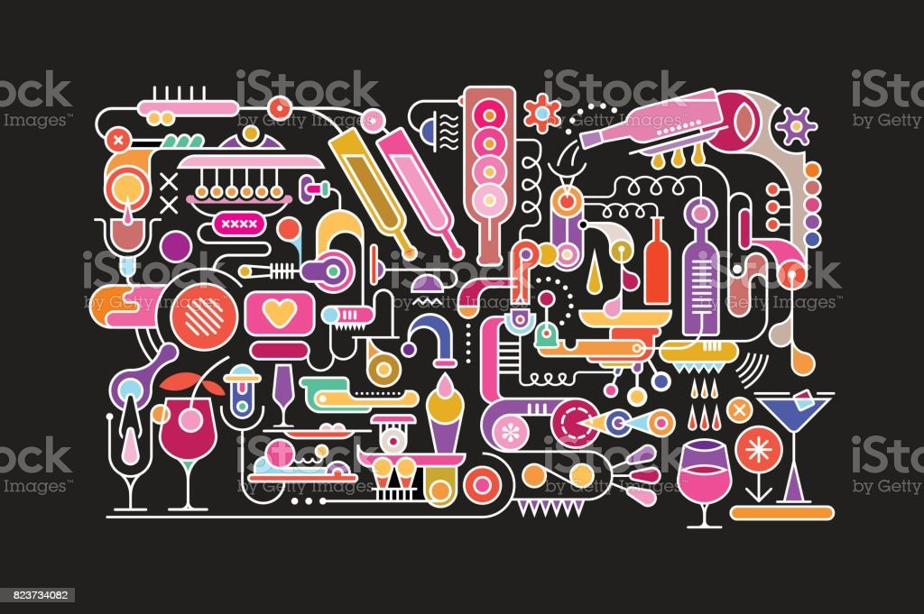 Cocktail Mixing vector art illustration