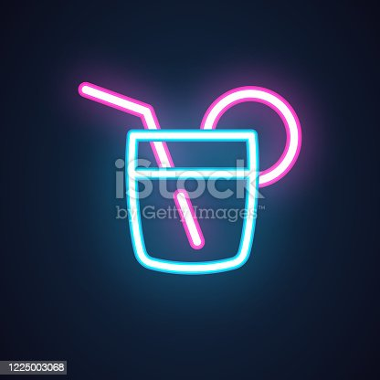 Cocktail neon icon. Drink in glass with slice of lemon and straw. Alcohol shot. Illuminated concept label for parties, events, bar, restaurant, cafe. Vector illustration isolated on black
