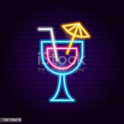 Cocktail Neon Sign. Vector Illustration of Alcohol Promotion.