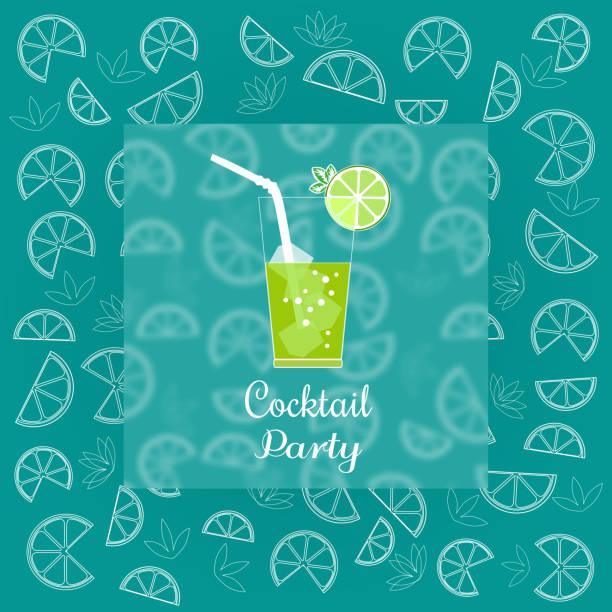 illustrations, cliparts, dessins animés et icônes de annonce de soirée cocktail - infusion pamplemousse