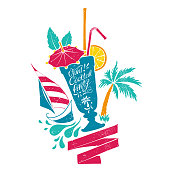 Retro sign with hand-drawn illustration of cocktail glass, palm tree and sailing boat.