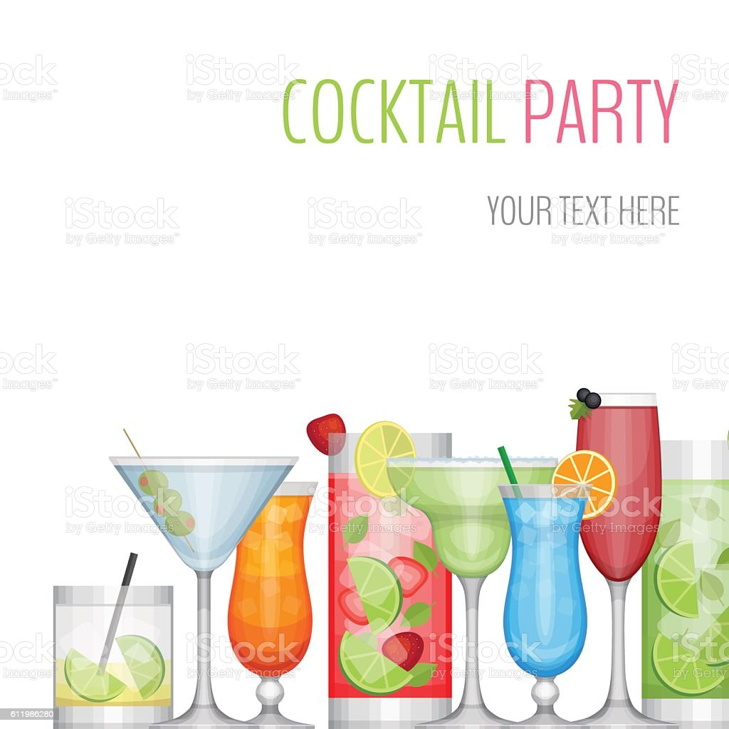 Cocktail party card. Cocktail bar flyer. Flat style, vector illustration. vector art illustration