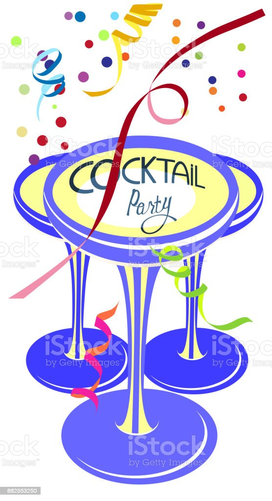 Cocktail-Party-bunte flache Vektor-Illustration mit Brille, Konfetti und Serpentin – Vektorgrafik