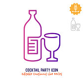 istock Cocktail Party Continuous Line Editable Stroke Line 1254526951