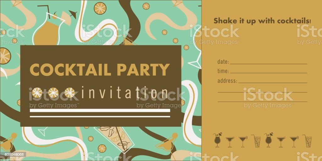 Cocktail Party Horizontal Invitation Card Template With