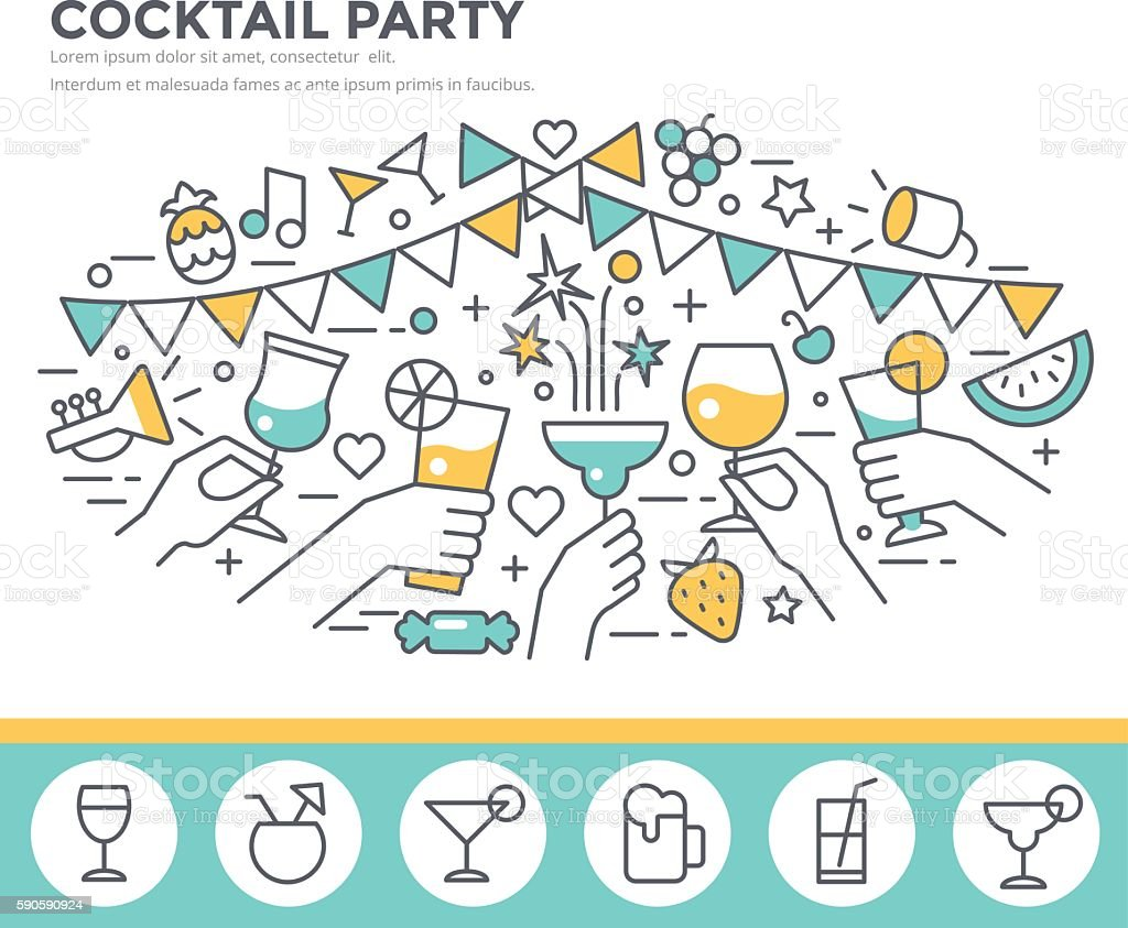 Cocktail party  illustration. ロイヤリティフリーcocktail party illustration - お祝いのベクターアート素材や画像を多数ご用意