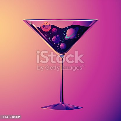 Cocktail party illustration. With drink glass and night sky. Futuristic neon style.