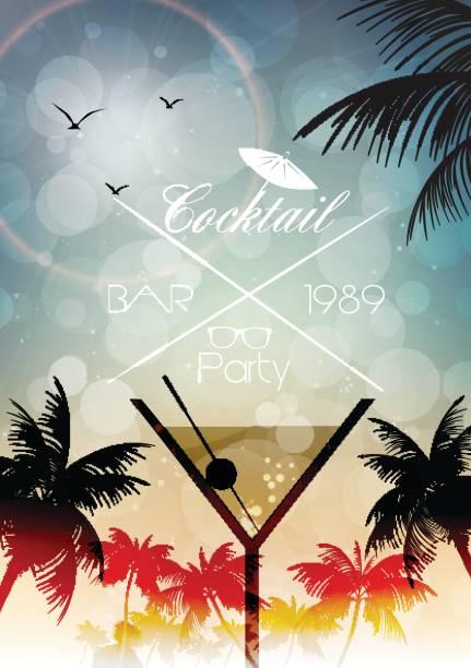 bildbanksillustrationer, clip art samt tecknat material och ikoner med cocktail party inbjudan affisch - vektorillustration - vin sommar fest