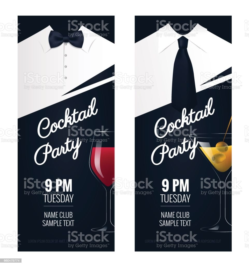 Cocktail Party invitation. vector art illustration