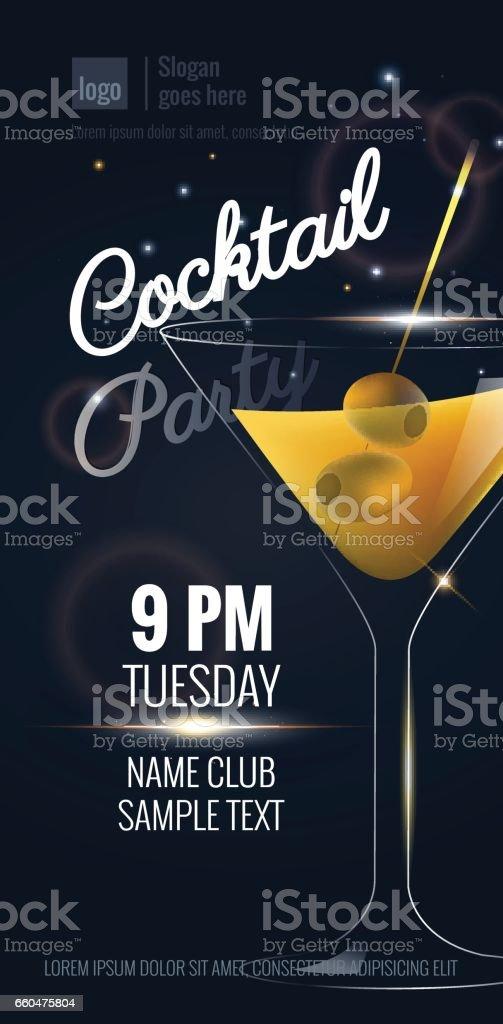 Convite para festa de cocktail. - ilustração de arte em vetor