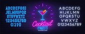 Cocktail Party neon sign on brick wall background. Blue and white neon alphabets. Template for the design.