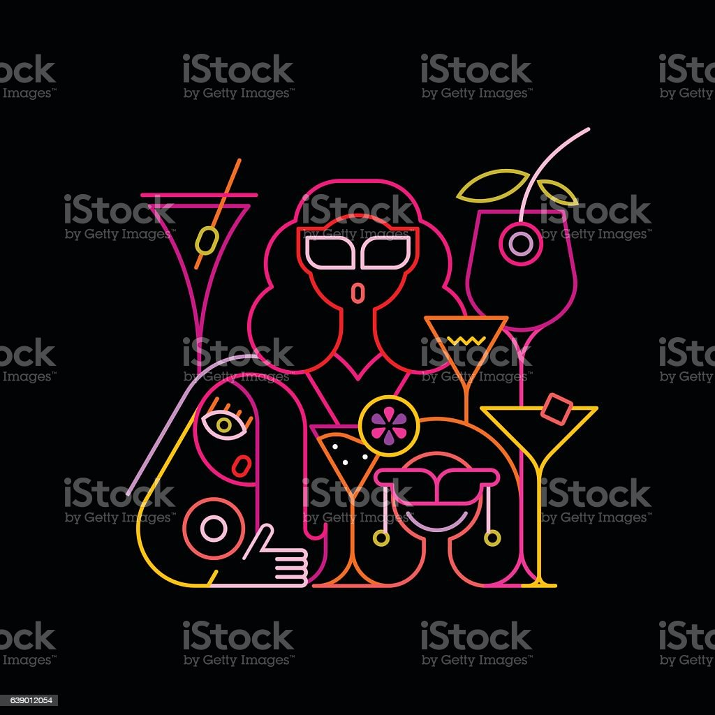 Cocktail Party Neon Sign vector art illustration