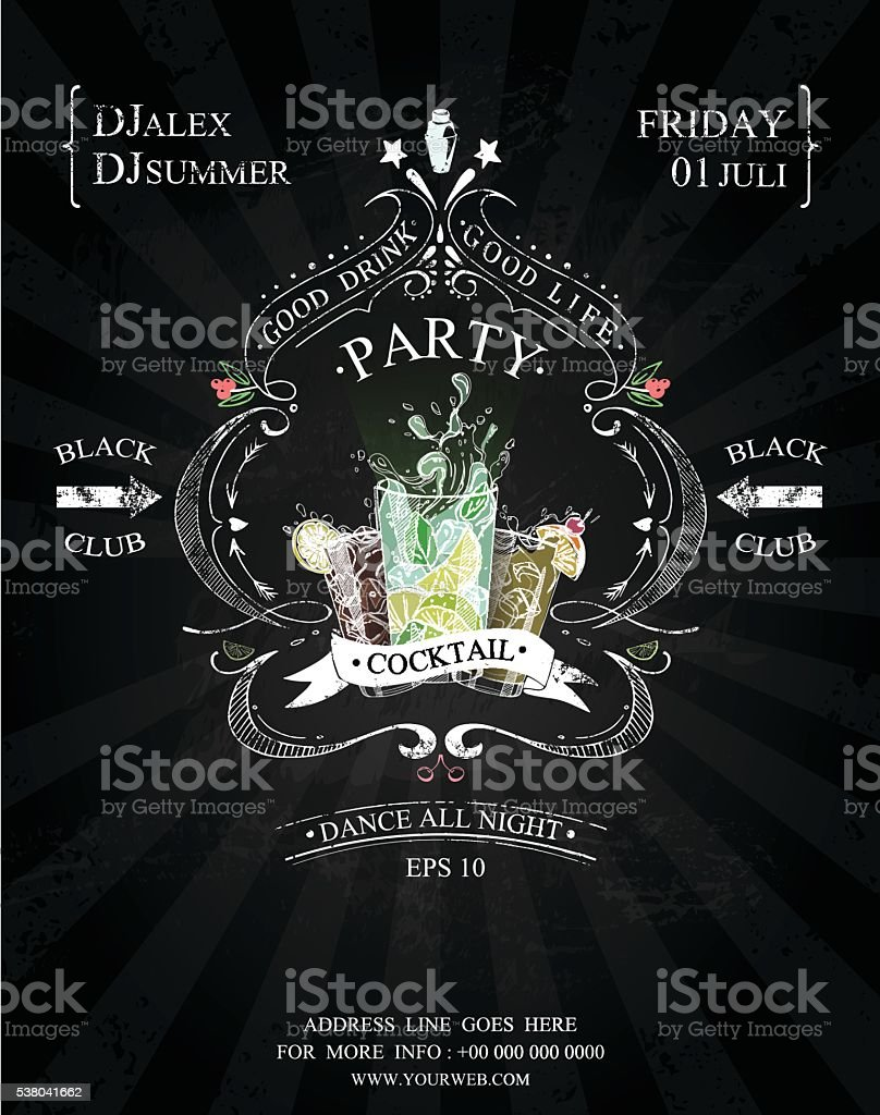 cocktail party poster black and white vector art illustration