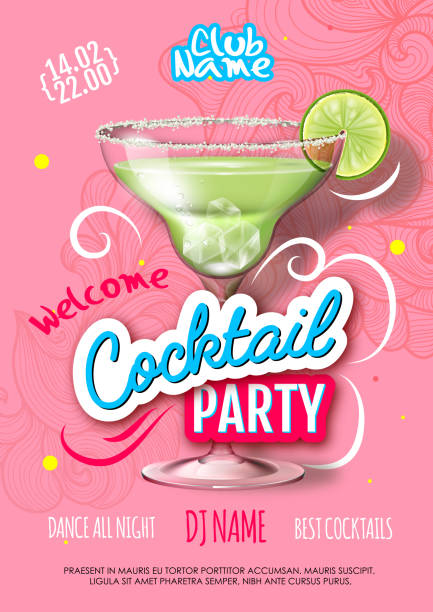 Cocktail party poster in eclectic modern style. Realistic cocktail Cocktail party poster in eclectic modern style. Realistic cocktail margarita stock illustrations