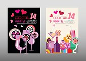 Two Cocktail Party vector posters options - with a black and with a light background. Invitation template, size A4.