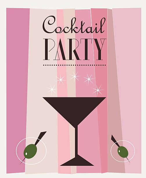 bildbanksillustrationer, clip art samt tecknat material och ikoner med cocktail party retro vector poster - vin sommar fest
