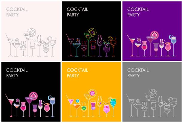 ilustraciones, imágenes clip art, dibujos animados e iconos de stock de banners de vector de fiesta cocteles - cóctel