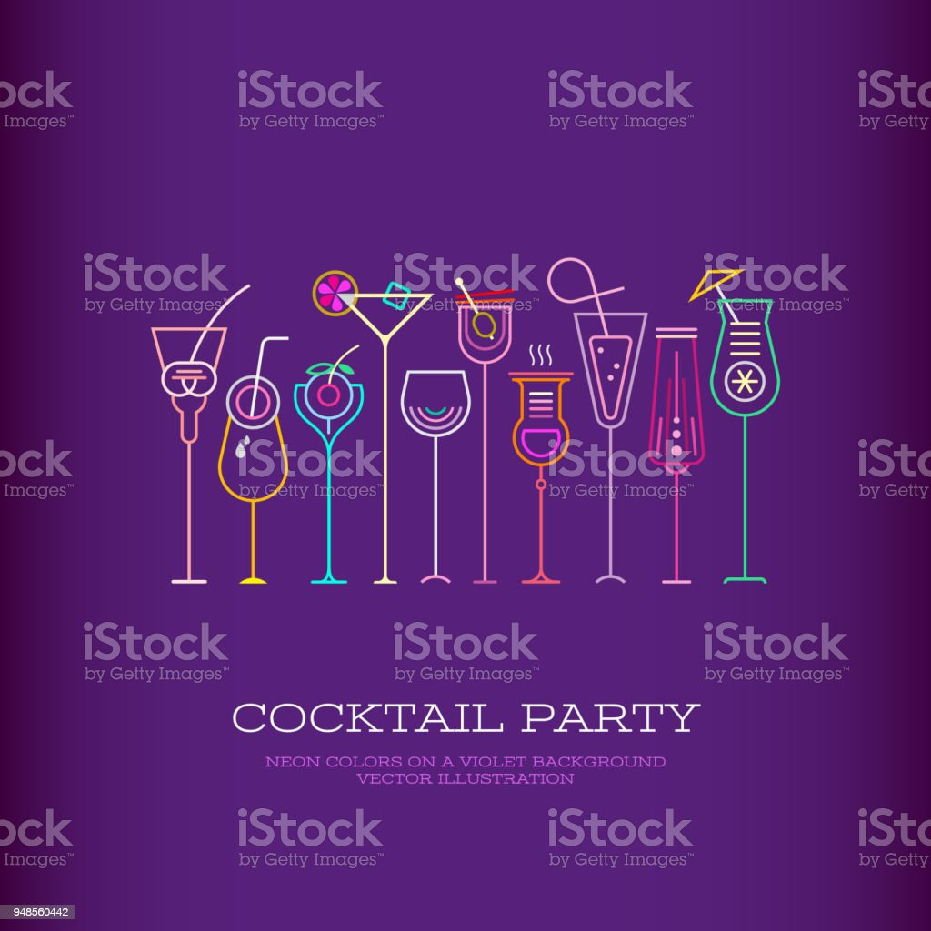 Cocktail Party vector poster design vector art illustration