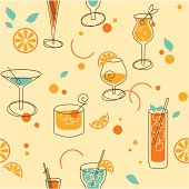 Seamless pattern of cocktails in retro-styled