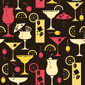 A repeatable, seamless cocktail pattern.