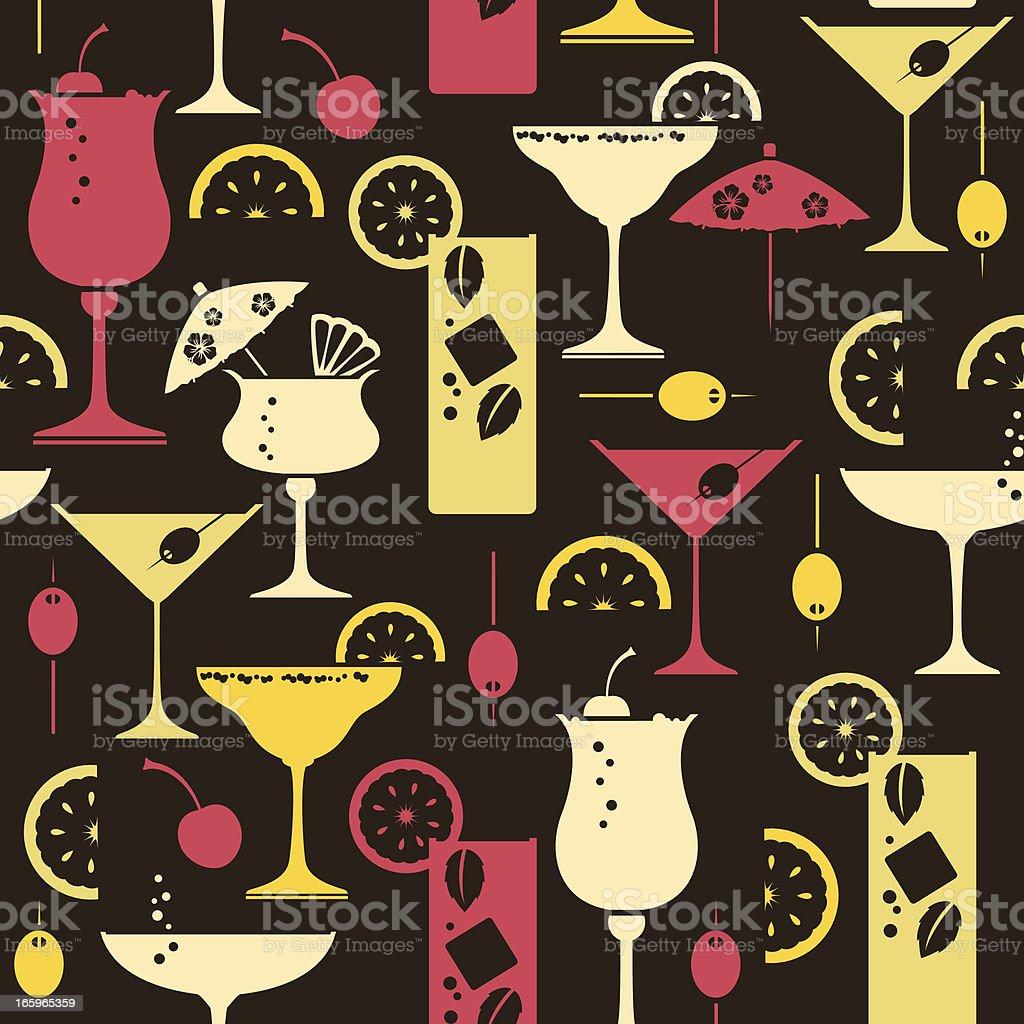 Cocktail Repeat Pattern vector art illustration