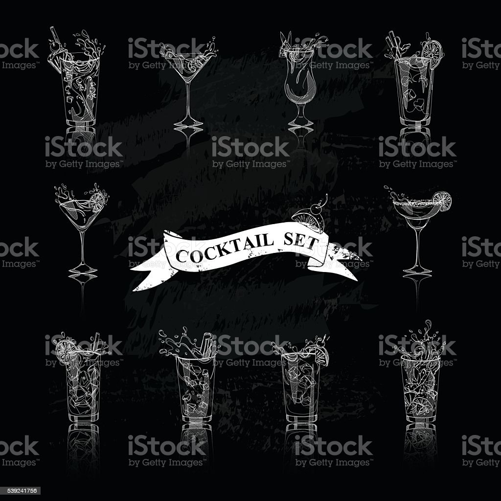 cocktail set black and white vector art illustration