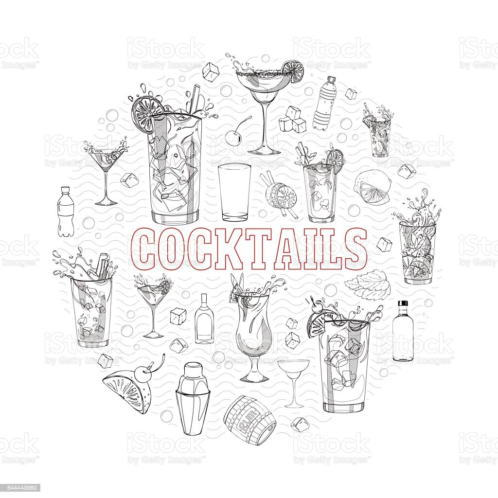 cocktail set in a circle vector art illustration